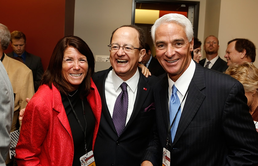 Global Director Bonnie Reiss, USC President C.L. Max Nikias and former Governor of Florida, Charlie Crist at the inaugural symposium