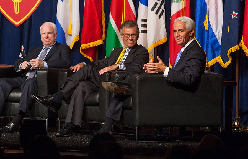 U.S. Senator John McCain (R-AZ), former U.S. Senate Majority Leader Tom Daschle (D-SD) and former Governor of Florida Charlie Crist discuss the importance of post-partisanship at the inaugural symposium