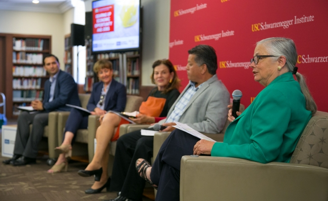 USC Schwarzenegger Institute Environmental Director Fran Pavley moderates a panel featuring Sam Jammal, Bob Keefe, Mia Lehrer, and Mary Leslie.