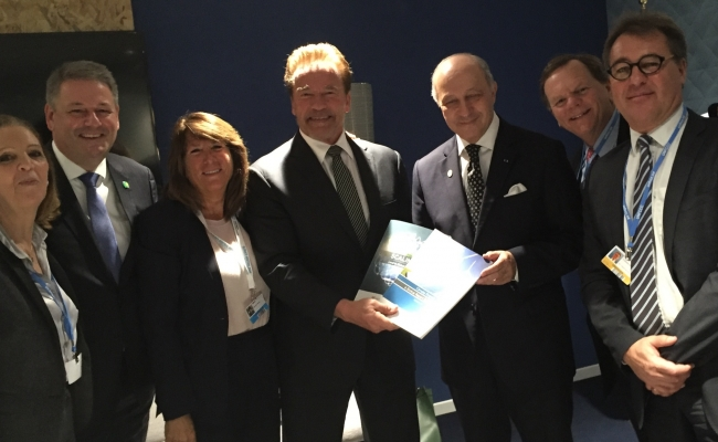 Michele Sabban, Andrä Rupprechter, Austrian Federal Minister of Environment, Bonnie Reiss, Governor Arnold Schwarzenegger, Laurent Fabius, French Foreign minister and President of the COP21, Terry Tam