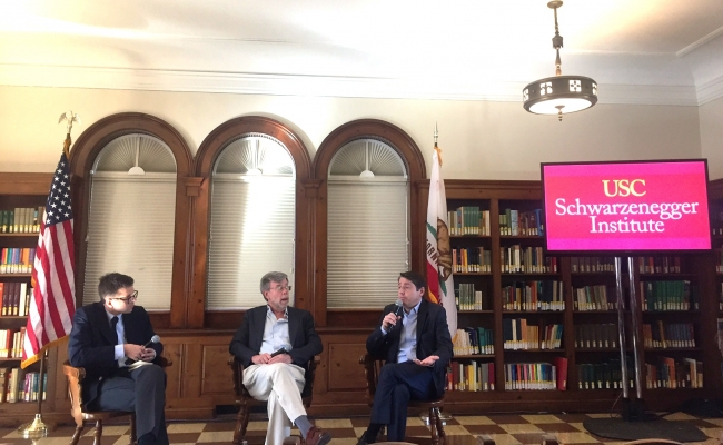 Sean Clegg (right) discusses California's top-two primary system with Bill Carrick (center) and David Siders (left)