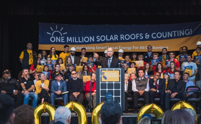 Governor Jerry Brown talks about the many benefits of the Million Solar Roofs Initiative.