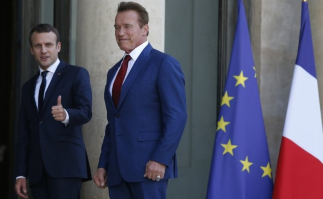 President of France Emmanuel Macron and Governor Arnold Schwarzenegger