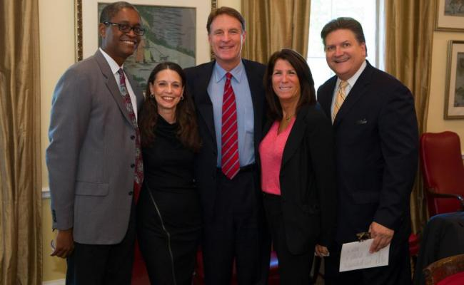 Former Indiana Senator Evan Bayh joined the Schwarzenegger Institute for a luncheon at the Widney Alumni House.