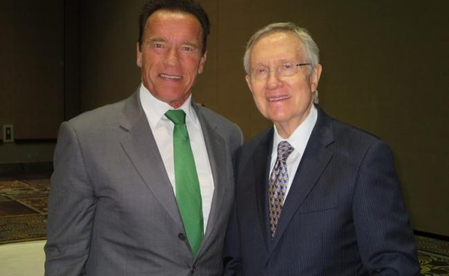 Governor Schwarzenegger and Senate Majority Leader Harry Reid at the Clean Energy Summit