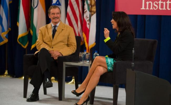 Former President of Mexico Vicente Fox discusses immigration reform with Gabriela Teissier, Univision